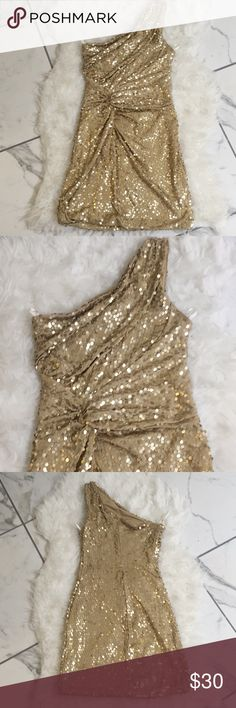 Gold One Strap Sequin Mini Dress Party time! Gold sequin one strap mini dress. Stand out and turn heads in this dress!   Smoke and pet free home. More sequin dresses in my closet! Frederick's of Hollywood Dresses Mini