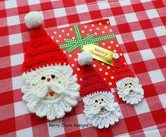SANTA APPLIQUE PATTERN - INSTANT DOWNLOAD (Crochet Instructions not an actual item)  This cute little Santa motive can be crocheted in most yarn weights using the appropriate hook size indicated on the yarn label.  The santa motive may be applied to bags, sacks, stocking, hats and scarves, hung on the xmas tree or made into bunting! In fact just about anything! Just have fun :-)  The photo shows the Santa in three different yarn weights Cotton - Sport /4 ply yarn Size - 4 x 2 Cotton…
