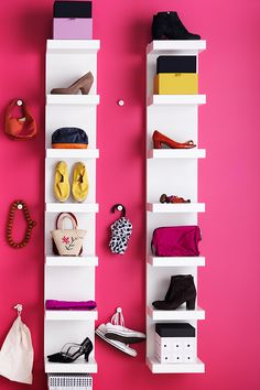 Decorate your college space with your favorite accessories! Roomy, free-standing LACK shelves or rows of open shelves serve as a shoe storage stage to show off your prettiest, most coveted little darlings.
