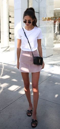 summer outfits  White Tee + Pink Skirt
