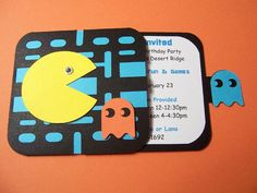 Set of 12 Pacman Video Game Invitations by PrettyPaperPusher on easy