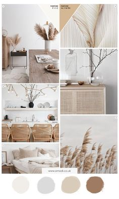 Natural minimalist mood board - - Beige is the new grey. a return of pale warm colours replacing the cooler shades of grey that have dominated for the last few years. Interior Design Magazine, Home Interior Design, Interior Decorating, Moodboard Interior Design, Scandinavian Interior Design, Interior Design Color Schemes, Decorating Bathrooms, Color Interior, Design Palette