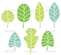 Tree Leaves Collection by BEEANDGLOW Abstract patterned leaves set. Vector Illustration