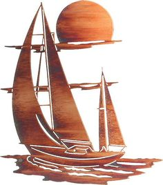 """#NR-SL24WHP Artwork by Neil Rose. This elaborate metal wall art will make the perfect addition to your ocean, sea, or sailboat themed decor.Measurements: 20"""" wi"""