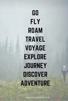 Go - fly - roam - travel - voyage - explore - journey - discover - adventure// Stuck in a rut? Check out these 20 best motivational quotes to inspire you to… Best Motivational Quotes, Best Inspirational Quotes, The Words, Quotes To Live By, Me Quotes, Journey Quotes, Best Travel Quotes, Photos Voyages, Adventure Travel