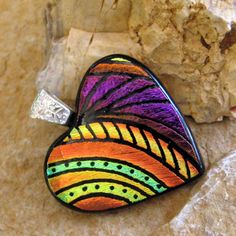 Dichroic Fused Glass Hand Etched  Pendant Fused Glass by GlassCat, $35.00