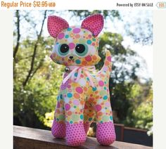"""15% Off Pattern """"Kiki"""" Kitten, Cat Stuffed Toy, Soft Sculpture, Cloth Toy Sewing Pattern by Melly & Me"""