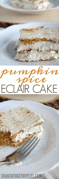 Pumpkin Spice Eclair Cake - cool and creamy and packed with BIG pumpkin spice flavor! This easy no bake dessert is going to be a family favorite! easy 3 ingredients easy for a crowd easy healthy easy party easy quick easy simple Easy No Bake Desserts, Köstliche Desserts, Holiday Desserts, Delicious Desserts, Dessert Recipes, Healthy Desserts, Birthday Desserts, Healthy Food, Baked Pumpkin