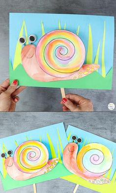 Peek-a-Boo Snail Craft Interactive Snail Craft for Kids: Kids will adore playing peek-a-boo with this adorable paper snail craft. Children can move the snail as if it's slithering in and out of its bobbly. Paper Crafts For Kids, Easy Crafts For Kids, Summer Crafts, Toddler Crafts, Projects For Kids, Diy For Kids, Diy Paper, Art Projects, Craft Activities