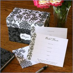 We have the recipe for an elegant start to your kitchen themed bridal shower! Our Damask Bridal Shower Recipe Box Invitation Gift Set is perfect for the DIY wedding shower hostess. This invitation set includes blank recipe cards for your guests to fill out and bring to the shower.The bride-to-be to will love starting a collection of delicious recipes from her friends and family.