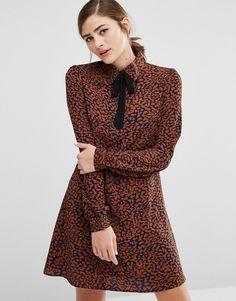 Fashion+Union+Shirt+Dress+With+Ribbon+Tie+Neck+In+Animal+Print