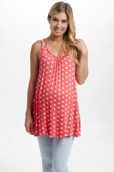 A polka dot printed maternity tank top with the versatility for a casual day out or the option of dressing up for a night out. Fuchsia-Polka-Dot-Lace-Back-Maternity-Tank-Top