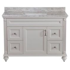 Home Decorators Collection, Annakin 48 in. Vanity in Cream with Stone Effect Vanity Top in Winter Mist, CLSD48COMWM-CR at The Home Depot - Tablet