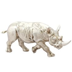 Sterling Silver Model of a Rhinoceros, Contemporary 2011 | From a unique collection of antique and modern sterling silver at https://www.1stdibs.com/furniture/dining-entertaining/sterling-silver/