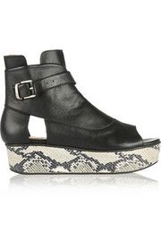 Thakoon AdditionSnake-effect and leather platform sandals