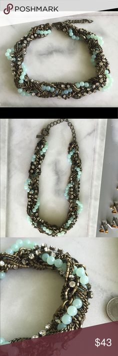 """Madewell 1937 Braided Statement Necklace This is one heavy duty necklace. Super high quality braided variety of chains with intertwined mint beads and rhinestones. 22"""" including extender. Cleaned ultrasonically just for you ✨ Madewell Jewelry Necklaces"""