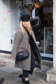 Coat: tumblr curvy plus size grey bag black bag gucci gucci bag chain bag quilted quilted bag hat