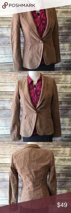 "✳️MOVING SALE✳️Zara Basic Suede Brushed Tan Blazer Zara Basic faux suede camel color Blazer. Outer shell made of 100% cotton. Lining made of acetate/ cotton/ elastane blend. Measures from pit to pit 16""/ length 22"". Pic 1 for styling inspiration only Zara Jackets & Coats Blazers"