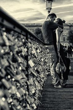 The Pont des Arts bridge in Paris where lovers, family members & best friends leave a padlock with their names and throw the key in the Seine… ♥