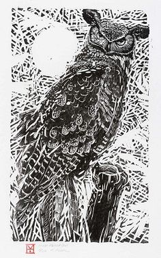 Horned Owl - Woodblock by Holly Meade 2007