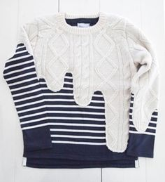 Liquid Knit -vintage- For COMME des GARÇONS Vintage Aran Sweater. Interesting idea for creative seams