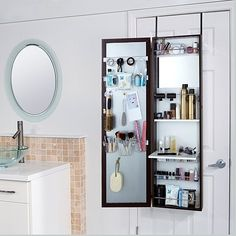 Over-the-Door Beauty Armoire with Full-Length Mirror