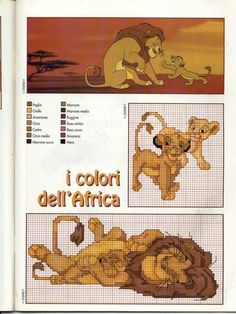 Il re leone schema a punto croce (walt disney) - magiedifilo.it punto croce uncinetto schemi gratis hobby creativi Disney Cross Stitch Patterns, Cross Stitch For Kids, Just Cross Stitch, Cross Stitch Baby, Cross Stitch Animals, Cross Stitch Charts, Cross Stitch Designs, Cross Stitching, Cross Stitch Embroidery