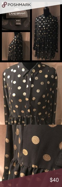 Lane Bryant Sheer Top / Metallic Gold Polka Dots Sheer top with gold metallic polka dots. Looks great with a cami or bra under it. It is see through. Very flowy fit. No rips stains or holes from smoke free home. Please ask for measurements if you need them before purchasing. Thanks. Lane Bryant Tops Blouses