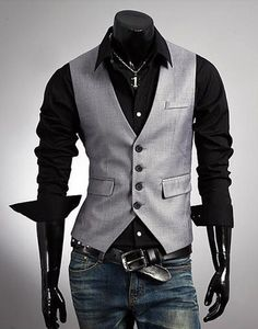 Winter New Men's Fashion Boutique vest Slim dark gray Vest Men's casual Vest Stylish Waistcoats, Dandy Look, Stylish Men, Men Casual, Stylish Clothes, Urban Look, Mode Man, Mode Costume, Herren Outfit