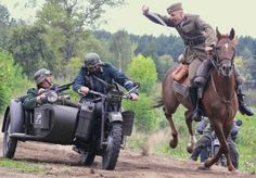 z- Polish Calvary vs German Motorcycle, 1939 (I assume a re-enactment)