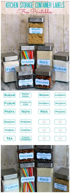 Get organized in the kitchen with these Kitchen Storage Container Labels - free printables! | MomOnTimeout.com |#MakeAmazing #printables #organiztion