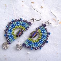 Beaded micromacrame earrings casual earrings colorful earrings