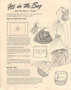 From Make it with Towels, Cannon Mills brochure. No date listed. Vintage Purses, Vintage Bags, Vintage Handbags, Sewing Hacks, Sewing Tutorials, Sewing Projects, Sewing Ideas, Barbie Patterns, Vintage Sewing Patterns