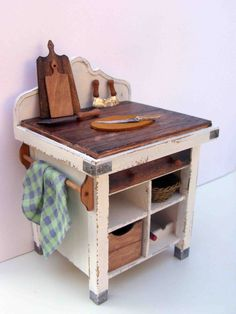Shabby white billot table with kitchen door hungarianminiatures