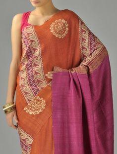 Nice motifs. Orange Magenta Organic Silk Saree