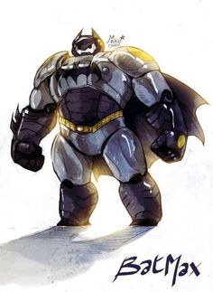 No. . .way!!! This is the kind of armor that Baymax really needed! And that's a perfect name, Batmax! Ha ha ha! Genius!