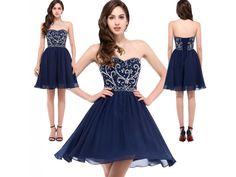 Tmavě modré zdobené koktejlové šaty, velikosti 32 - 44 - Bestmoda