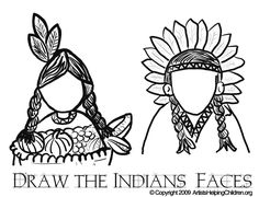 thanksgiving coloring pages | Thanksgiving Indians Coloring Pages Printouts & Draw Indians Faces in ...