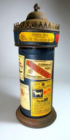 Vintage Lighthouse Tower Music Box Glass Metal Gold Dispenser Bottle Decanter #Handmade
