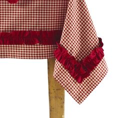 Gorgeous ruffled and gingham tablecloth