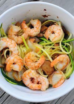 Lemon Shrimp Zuchini Pasta - yum and healthy