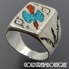 Native American Navajo Sterling Silver Turquoise Coral Chip Inlay Peyote Bird Men's Ring - Size 10.5