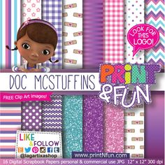 Doc McStuffins Digital Paper Patterns - Digital Papers and more!