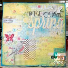 Spring art canvas using digital papers. Totally hybrid.  Totally gorgeous!