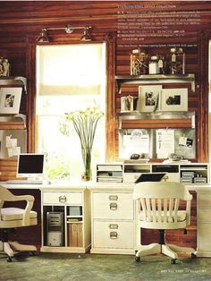 architect desk Love the chair Apartment Therapy Modern country office :: // Country Office, My Ideal Home, House, Home, Knotty Pine Walls, Cabin Chic, Modern Country, White Furniture, Cabin Office