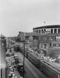 1935. Wrigley Field. Clark and Addison.