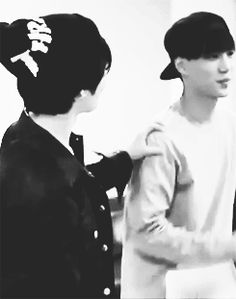 """Taemin (SHINee) & Kai (EXO).  Neither of these two are particularly into """"skinship"""" (except with D.O. on Kai's side).  The only other person I've seen Taemin purposefully make physical contact with is Onew, & occasionally Minho, though he doesn't seem to instigate it with Minho quite so often.  So it's quite lovely that he has someone his own age that he feels comfortable engaging in physical affection with.  And that Jongin  does too."""