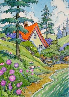 """""""Summer at the Lake Storybook Cottage Series"""" - Original Fine Art for Sale - � Alida Akers"""