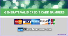 Valid Credit Card Generator and Validator - free cc generator Credit Card App, Credit Card Hacks, Best Credit Cards, Credit Score, Money Generator, Gift Card Generator, Number Generator, Visa Card Numbers, Capital One Credit Card