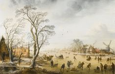 Aert van der Neer AMSTERDAM CIRCA 1603/4 - 1677 A WINTER LANDSCAPE WITH SKATERS AND KOLF PLAYERS ON A FROZEN RIVER BY A VILLAGE, oil on oak panel